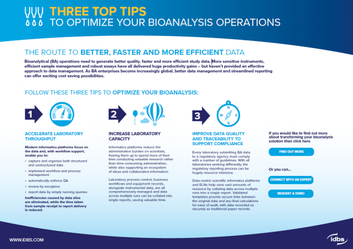 Tipsheet: Three Top Tips To Optimize Your Bioanalysis Operations